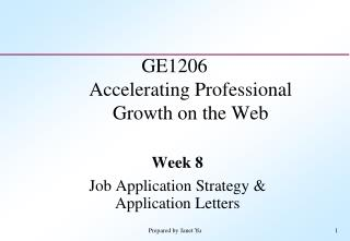 GE1206 Accelerating Professional Growth on the Web