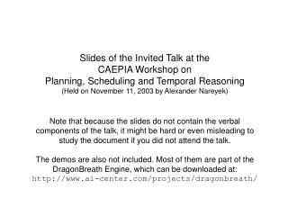 Slides of the Invited Talk at the CAEPIA Workshop on