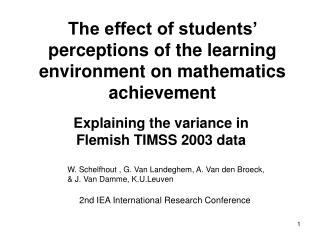 The effect of students' perceptions of the learning environment on mathematics achievement