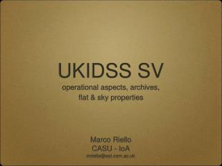UKIDSS SV