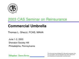 2003 CAS Seminar on Reinsurance