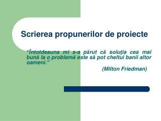 Scrierea propunerilor de proiecte