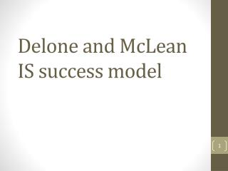 Delone and McLean IS success model