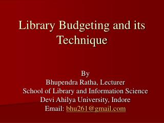 Library Budgeting and its Technique