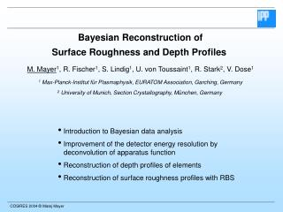 Bayesian Reconstruction of Surface Roughness and Depth Profiles
