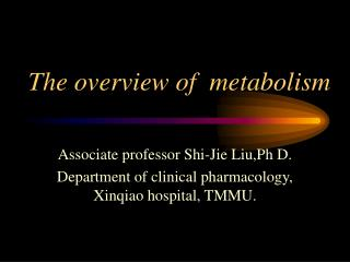 The overview of  metabolism