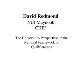 David Redmond NUI Maynooth CHIU