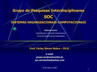 Grupo de Pesquisas Interdisciplinares  SOC SISTEMAS ORGANIZACIONAIS COMPUTACIONAIS