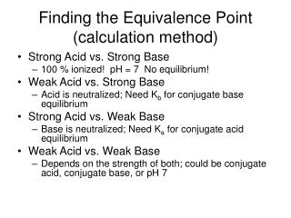 Finding the Equivalence Point (calculation method)