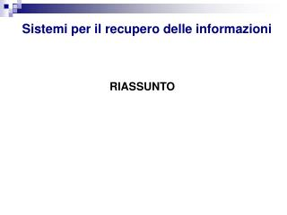 Sistemi per il recupero delle informazioni