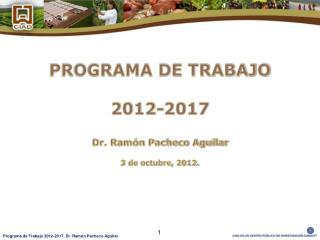 PROGRAMA DE TRABAJO  2012-2017 Dr. Ramón Pacheco Aguilar 3 de octubre, 2012.