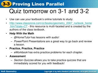 Quiz tomorrow on 3-1 and 3-2