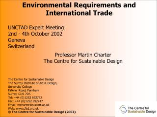 Professor Martin Charter The Centre for Sustainable Design