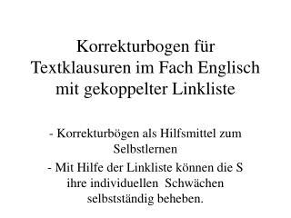 Korrekturbogen für Textklausuren im Fach Englisch mit gekoppelter Linkliste