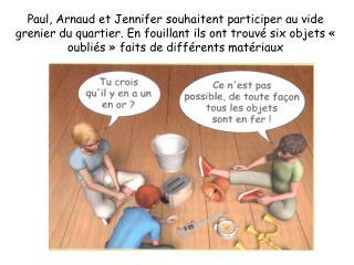 Comment faire pour aider Paul, Arnaud et Jennifer à identifier les différents matériaux ?