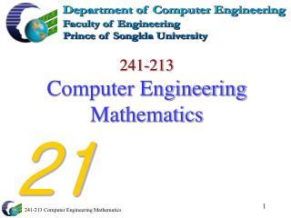 241-213 Computer Engineering Mathematics