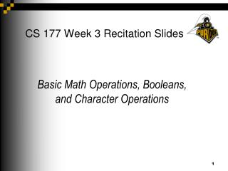CS 177 Week 3 Recitation Slides