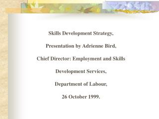 Skills Development Strategy, Presentation by Adrienne Bird, Chief Director: Employment and Skills