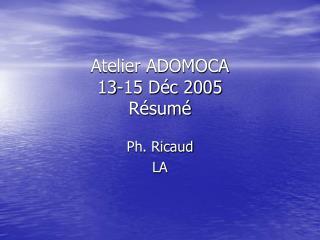 Atelier ADOMOCA  13-15 Déc 2005 Résumé