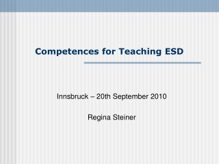 Competences for Teaching ESD