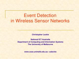 Event Detection  in Wireless Sensor Networks