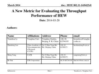 A New Metric for Evaluating the Throughput Performance of HEW