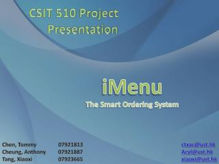 iMenu The Smart Ordering System