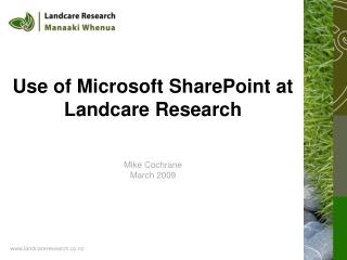 Use of Microsoft SharePoint at Landcare Research