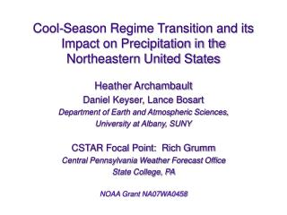 Cool-Season Regime Transition and its Impact on Precipitation in the  Northeastern United States