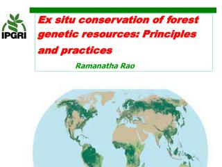 Ex situ conservation of forest genetic resources: Principles and practices               Ramanatha Rao