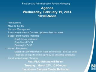 Agenda Wednesday, February 19, 2014 10:00-Noon