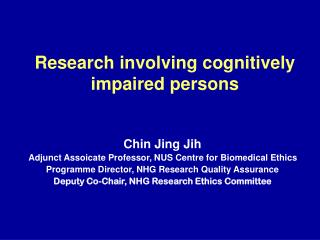 Research involving cognitively impaired persons