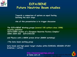 ECFA/BENE  Future Neutrino Beam studies