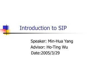 Introduction to SIP