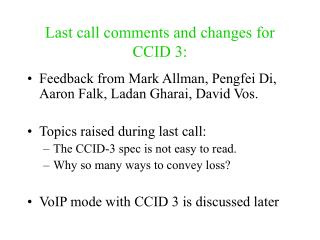 Last call comments and changes for CCID 3: