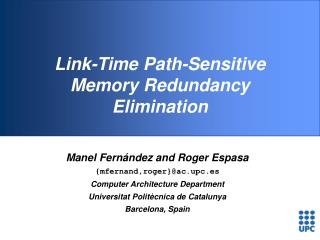 Link-Time Path-Sensitive Memory Redundancy Elimination