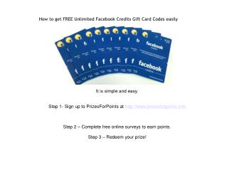 how to get FREE Unlimited Facebook Credits Gift Card Codes e