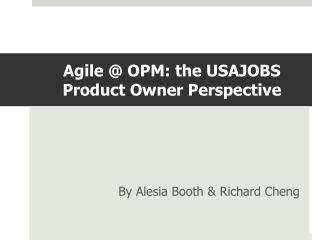Agile @ OPM: the USAJOBS Product Owner Perspective