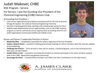 Judah Makover, CHBE  RISE Program - Service