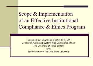 Scope  Implementation of an Effective Institutional Compliance  Ethics Program