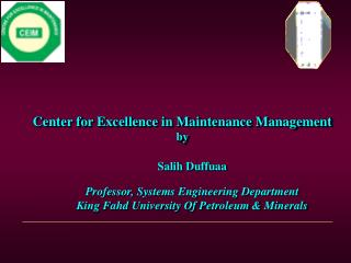 Center for Excellence in Maintenance Management by