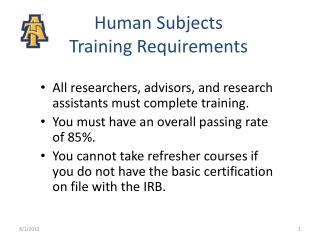 Human Subjects Training Requirements