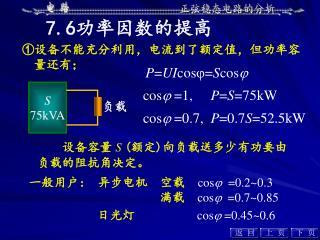 设备容量 S ( 额定 ) 向负载送多少有功要由负载的阻抗角决定。