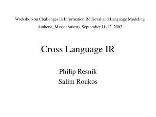 Cross Language IR