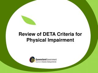 Review of DETA Criteria for Physical Impairment