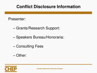 Conflict Disclosure Information
