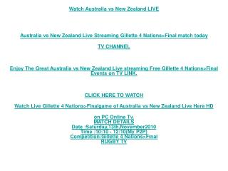 New Zealand vs Australia Stream/Final 4 Nations Rugby Live T