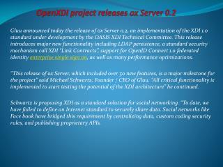 OpenXDI project releases oxServer 0.2