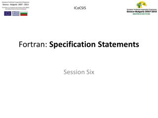Fortran:  Specification  Statements