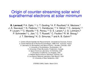 Origin of counter-streaming solar wind suprathermal electrons at solar minimum